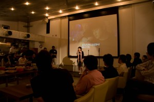 Naoko speaking at the after party